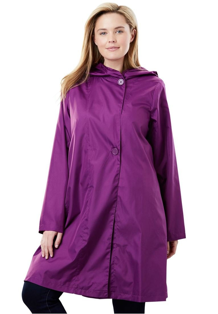 Women's Plus Size Packable Water-Resistant Hooded Raincoat with Zip Bag Plum