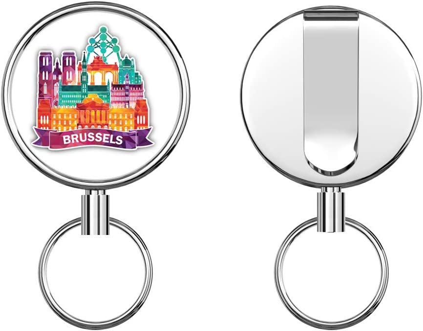 Brussels Triangulated City Retractable Badge Holder Reel Metal ID Badge Holder with Belt Clip Key Ring for Name Card Keychain