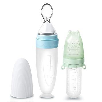 2er-Pack Termichy 30 ml Obstsauger Baby 90 ml Baby Getreide F/ütterungs Flasche f/ür Kleinkinder mit Staubschutzkappe Blau/&Gr/ün Fruchtsauger f/ür Baby