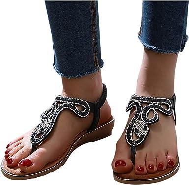 Women Bohemian Flat Sandals Nevera Summer Crystal with Rhinestone Beaded Dress T-Strap Thong Sandals Wedding Shoes