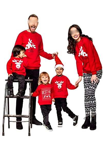 6b5be87a59 Mommy&Me Daddy Girls Boys Women Men Parent-Child Deer Print Sweatshirt  Pullover Family Matching Tops