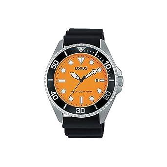 Lorus Mens 45mm Black Silicone Band Steel Case Quartz Orange Dial Analog Watch RH949GX9