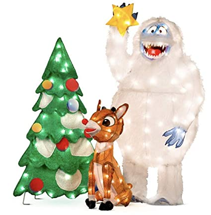 animated rudolph and bumble decorating tree outdoor christmas decorations set of 3