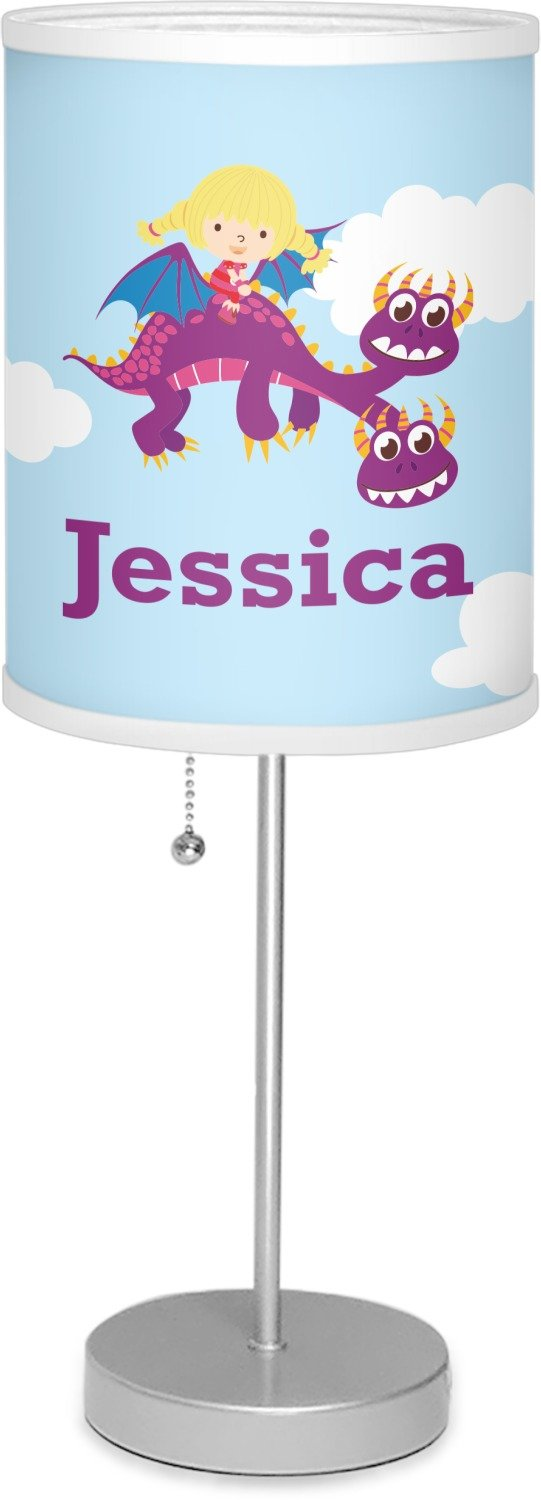 RNK Shops Girl Flying on a Dragon 7'' Drum Lamp with Shade Linen (Personalized)