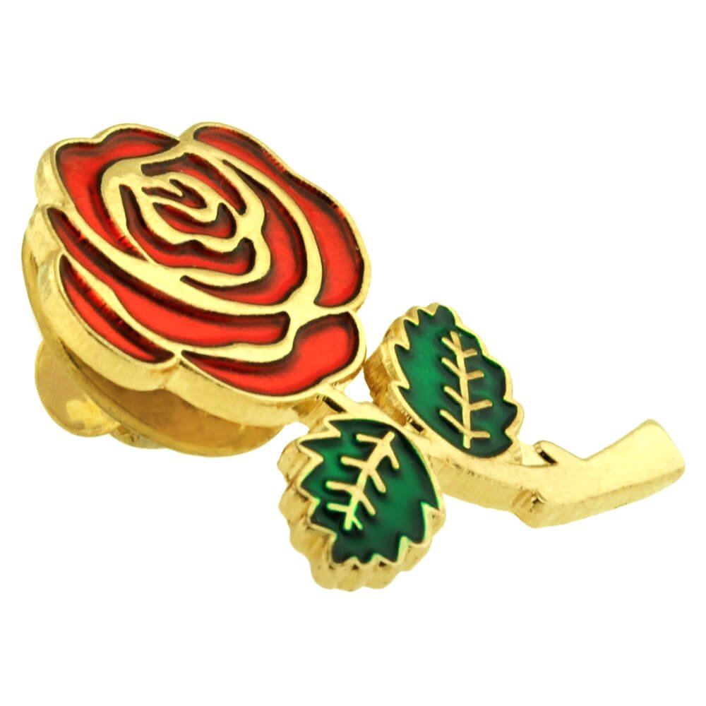 PinMart Colored Red Rose Flower Enamel Lapel Pin 1'' by PinMart (Image #2)