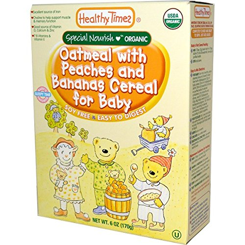 Healthy Times, Organic Oatmeal with Peaches and Banana Cereal for Baby, 6 oz - Pack of 3
