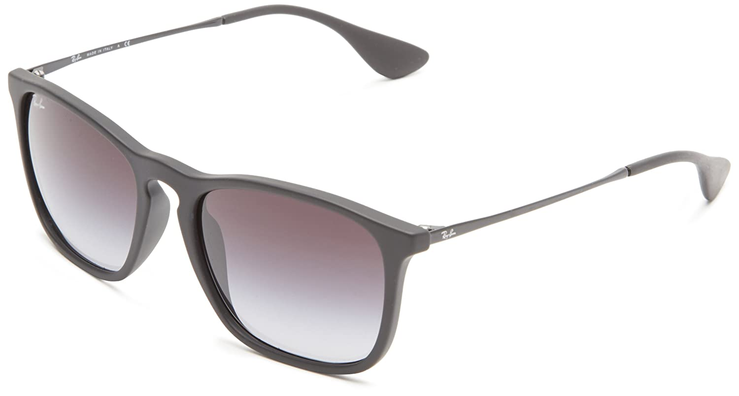 ray ban new sunglasses  amazon: ray ban chris rubber black frame light grey gradient dark grey lenses 54mm non polarized: ray ban: clothing