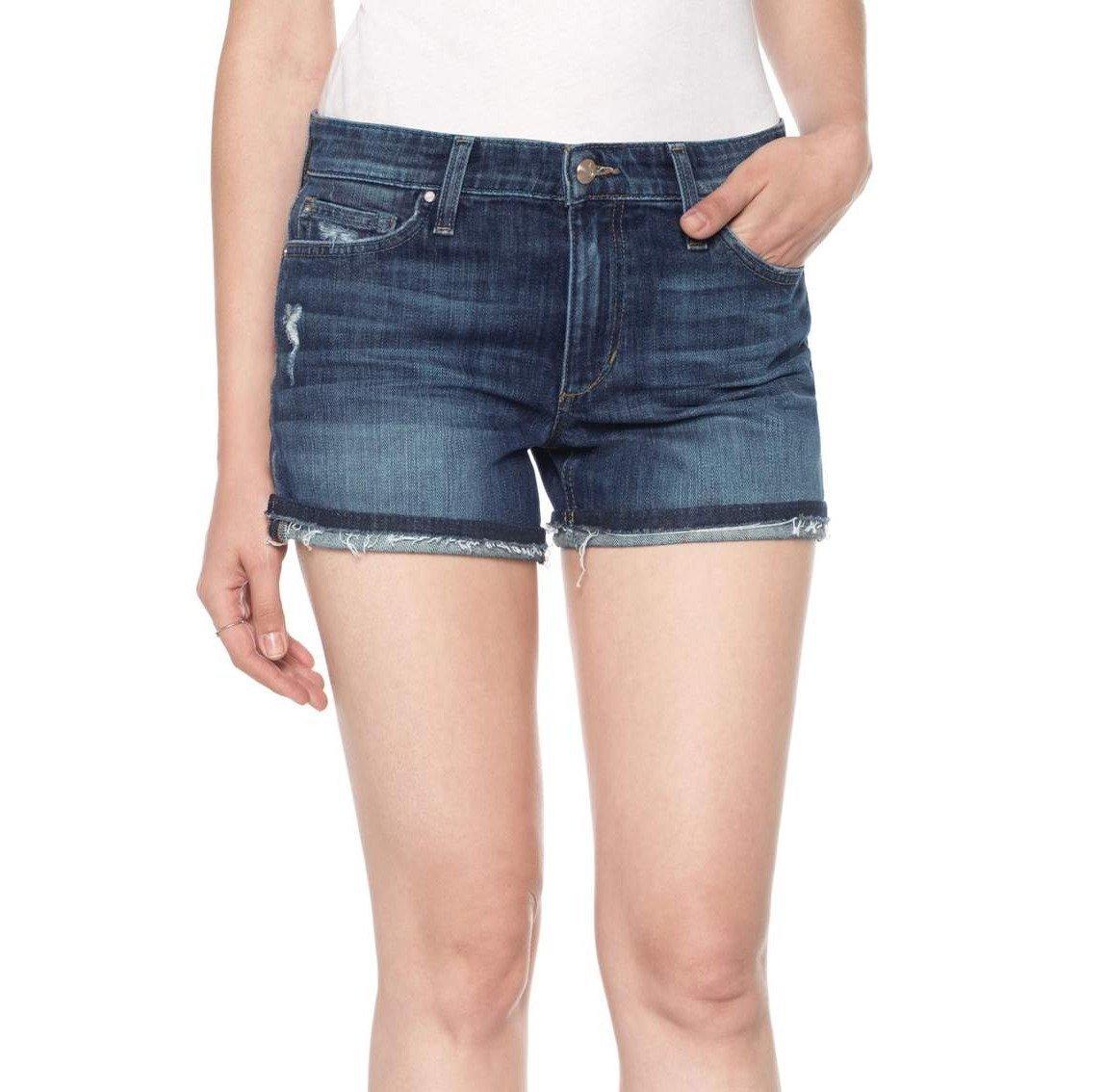 Joe's Jeans Women's Markie Rolled Hem Shorts, Destructed Medium Blue, 31