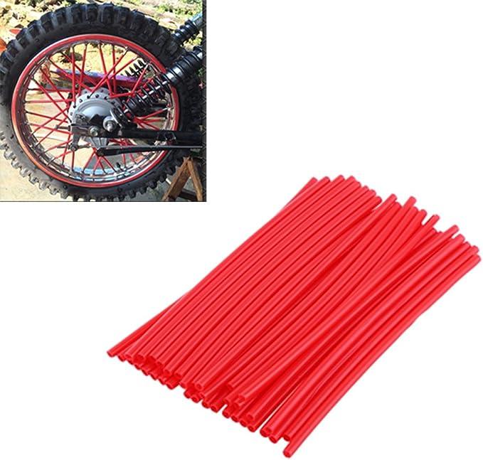 garnitures Lot de 36 protections pour rayons de motocross pour roues de moto tuyaux d/écoratifs pour manteaux rouge
