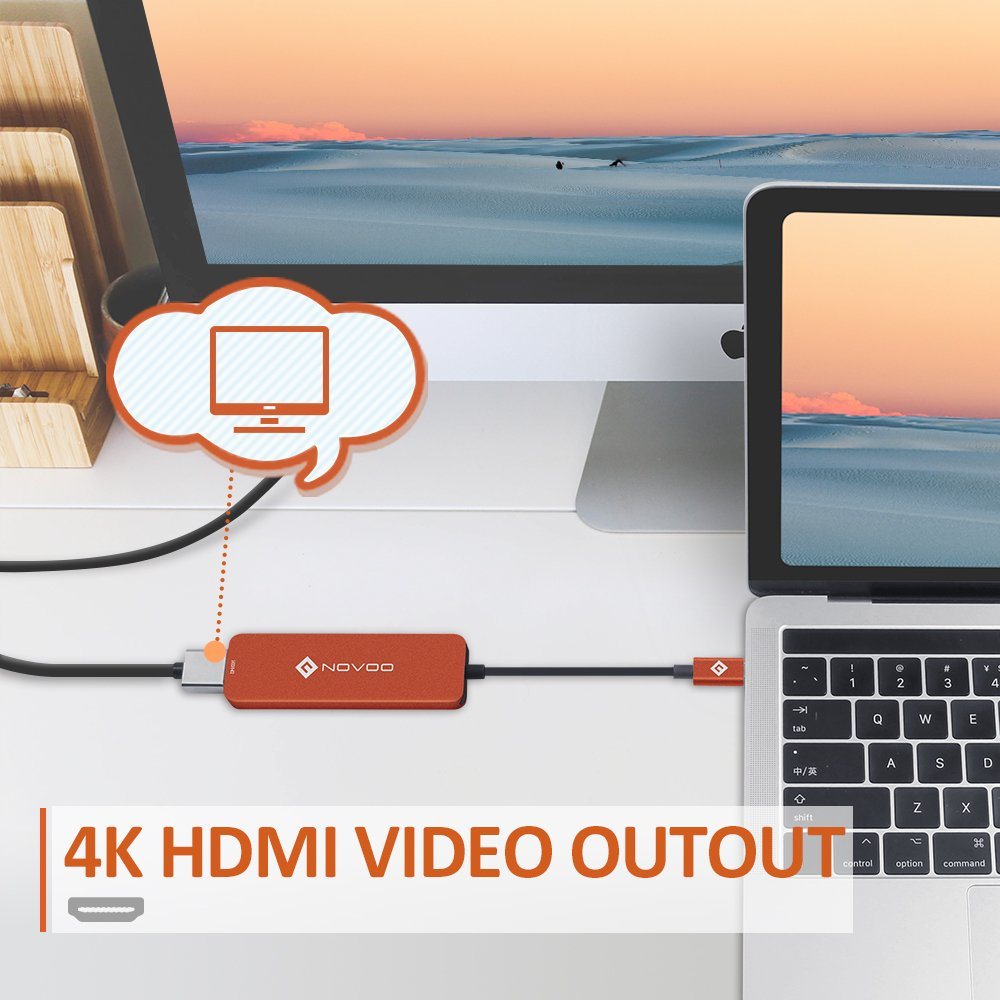 NOVOO usbc ハブ Micro SD/SDカードリーダー USB HDMI USB3.0 MacBook2016 MacBook Pro/ChromeBook対応 (オレンジ)