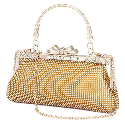 Clutch Purse for Women Crystal Evening Bags and Clutches Rhinestone Evening Handbags (Gold-B)