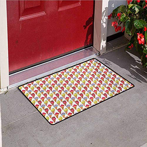 Jinguizi Ice Cream Welcome Door mat Tasty Summer Desserts Refreshments Soft and Sweet Food Frosting Various Flavors Door mat is odorless and Durable W31.5 x L47.2 Inch Multicolor
