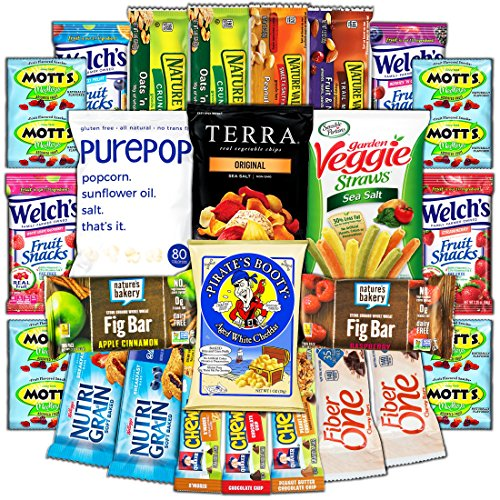 CollegeBox - Healthy College Care Package - Granola bars, fruits snacks, popcorn, veggie chips, and more! Variety Assortment Bundle (25 Count) by CollegeBox