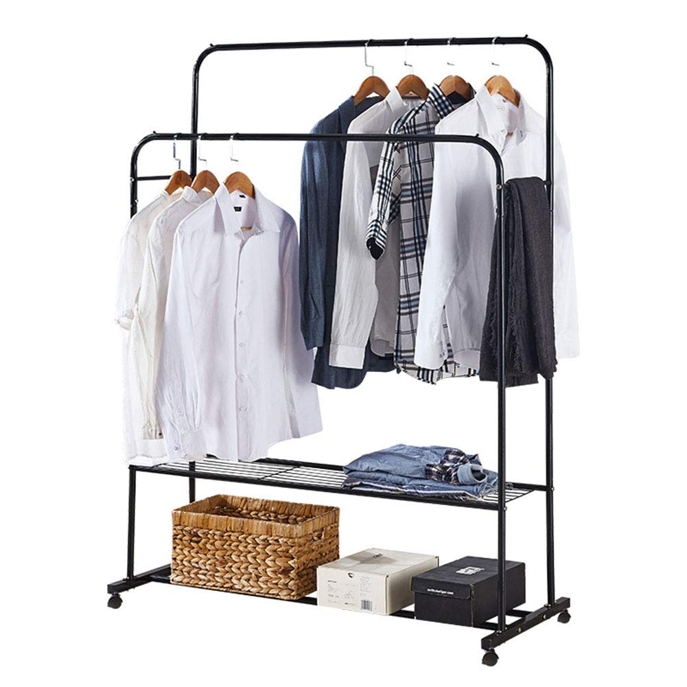 B 11050151cm Coat Rack,Simple Modern Iron Art Double Layer Landing Hangers shoes Rack Living Room Clothes Rack Multifunction Creative Coat Rack