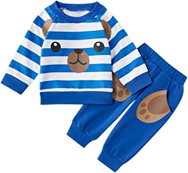 Onefa Toddler Kids Baby Boy Denim Pants Clothes Set Striped T Shirt Pullover Tops