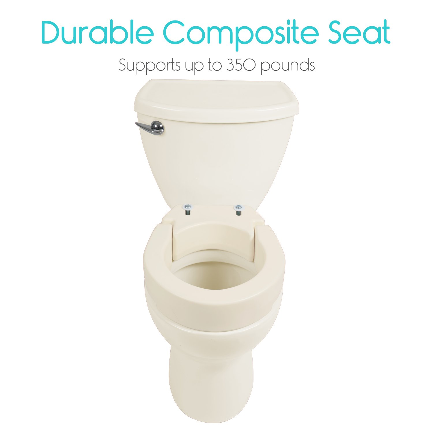Vive Raised Toilet Seat Riser Elevated Hinged Seat
