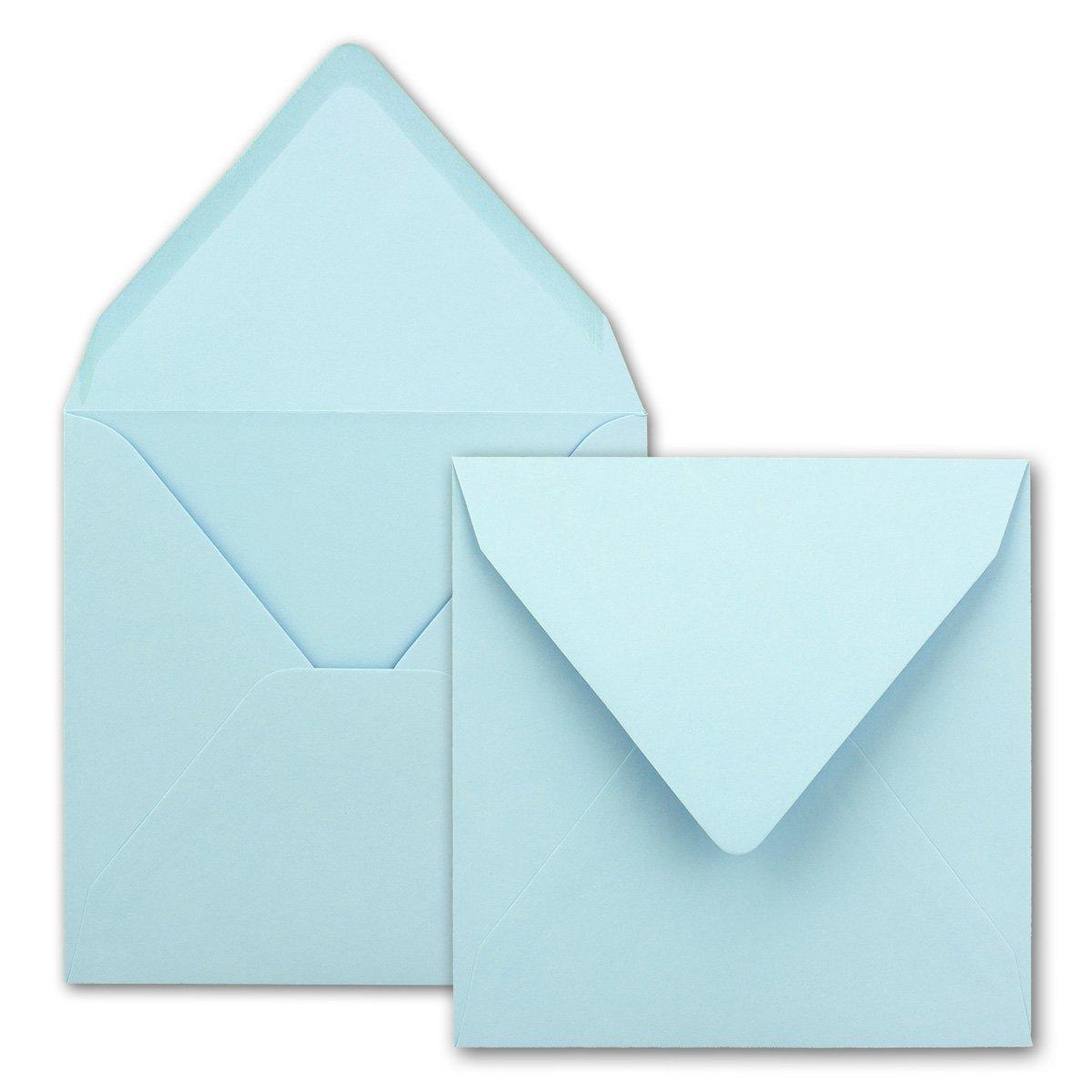 Buste per lettere, quadrate/azzurro, qualità pesante–molto stabile–110G/m², 158x 158mm, nassklebung, pizzo portafoglio//in della Serie colore felici di Neuser. 25 Umschläge blu chiaro
