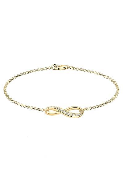 Elli Women's 925 Sterling Silver Swarovski Crystal Infinity Rose Gold Plated Bracelet of Length 18cm Ss4dRCyOY