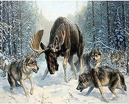 Geiqianjiumai Snow Wolf Pack Deer Animal Canvas Wedding Decoration Art Picture Gift Pintura sin Marco: Amazon.es: Hogar