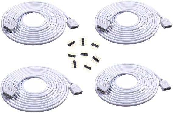 4PCS 2M 6.56ft 4 Color RGB Extension Cable LED Strip Connector Extension Cable Cord Wire 4 Pin LED Connector for SMD 5050 3528 2835 RGB LED Light Strip