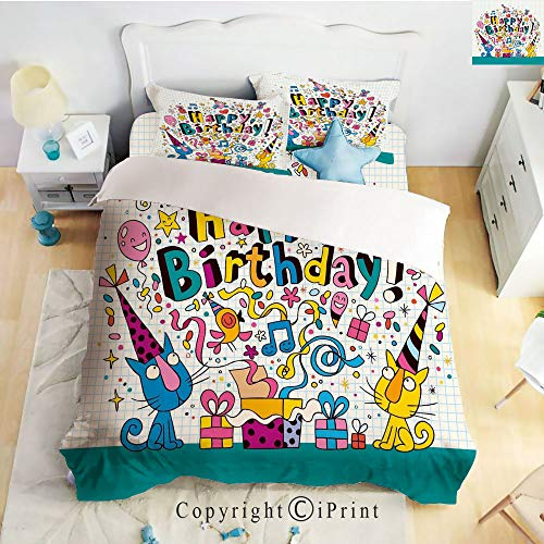 (Bedding 4 Piece Sheet,Math Note Pad Inspired Cartoon Animals Cats Present Image,Blue and White,Full Size,Suitable for Families,Hotels)