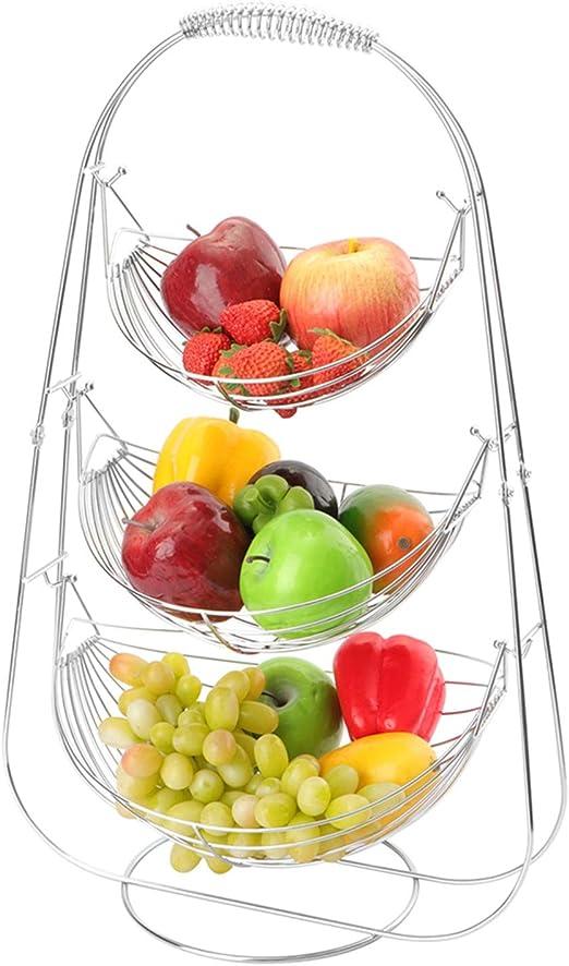 3 Tier Chrome Triple Hammock Fruit//Vegetable//Produce Metal Basket Display Stand