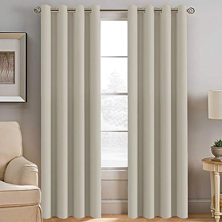 BellaHills Vorhang Blickdicht Schlaufen Verdunkelungsgardinen Gardinen  Schlafzimmer - Creme 2 Stück Vorhänge, Energiespar & Wärmeisolierend 245CM  x ...