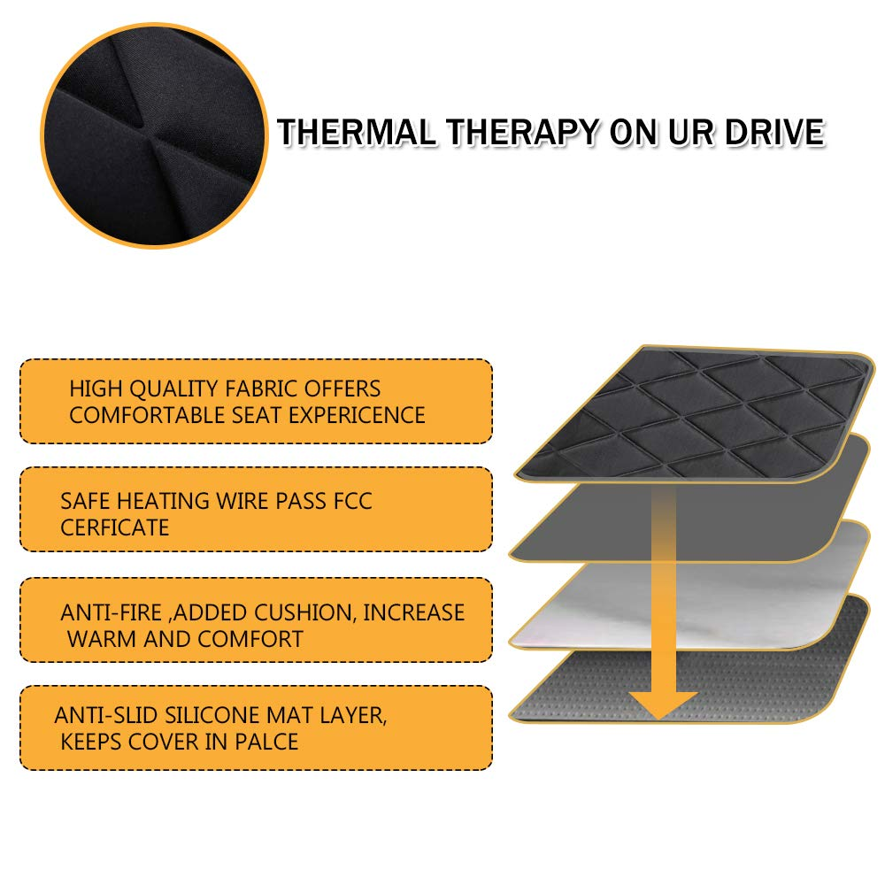 LIANTRAL Car Seat Heater,/12V Heated Car Cushion Car Back Heating Pad//Seat Warmer Cover/with Intelligent Temperature Control Black