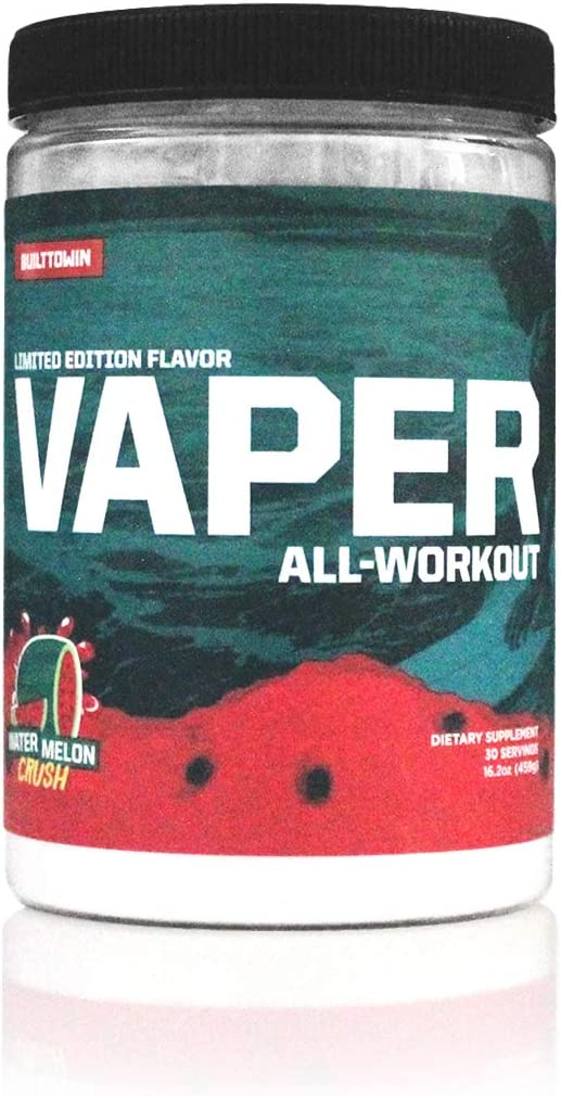 Vaper All-Workout No Crash No Jitters Pre-Workout Vegan BCAAs Thermogenic Fat Burner Electrolyte Hydration 4 Products in 1 Drink Watermelon Crush