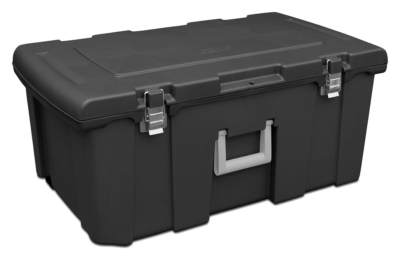 Sterilite 18429001 Footlocker, Black w/ Titanium Handle & Galvanized Steel Latches, 1-Pack