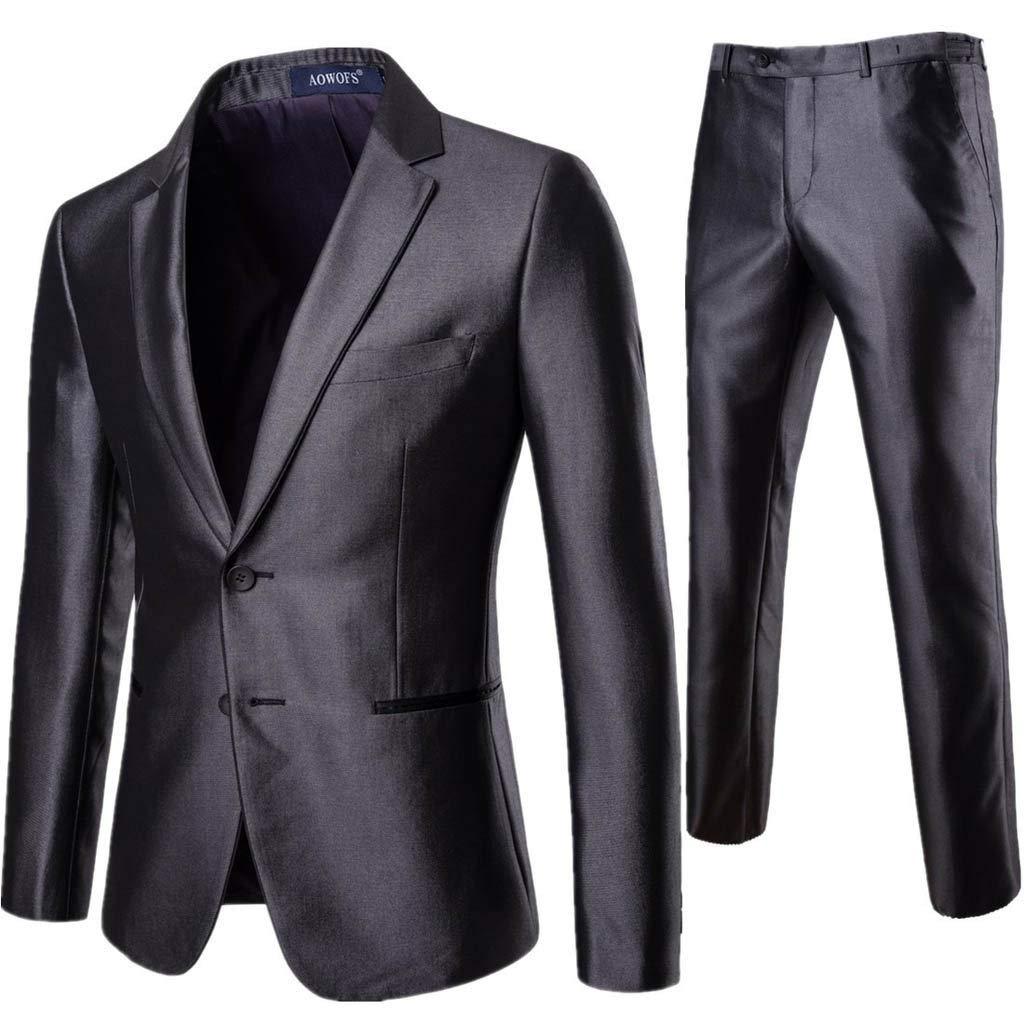 DondPO Men's Suit Double Button Slim Fit 2 Piece Suit for Men Casual Suit & Pants/Formal/Wedding Party/Tuxedo