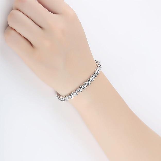 CRARINE Bangle Tennis Bracelet Swarovski Round Sterling Silver Cubic Zirconia for Women with CZ Crystals Rhodium Plating Jewellery Me6oaJcSJ9