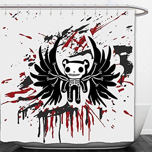 Interestlee Shower Curtain Halloween Teddy Bones with Skull Face and Wings Dead Humor Funny Comic Terror Design Pearl Black (Musica Halloween Terror)