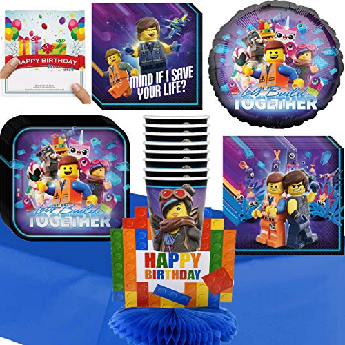 Lego Movie 2 Party Supplies Deluxe Party Supply and Balloon Decoration Bundle with Our Happy Birthday Card and Centerpiece (Birthday -