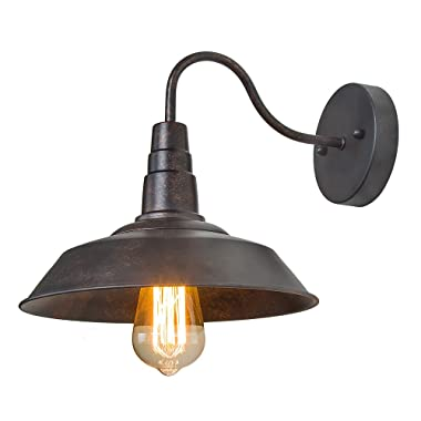 LNC Wall Sconce,Farmhouse Barn Gooseneck Light fixtures Antique Brass and Rust Matte Finish for Bedroom Bathroom A0224105,