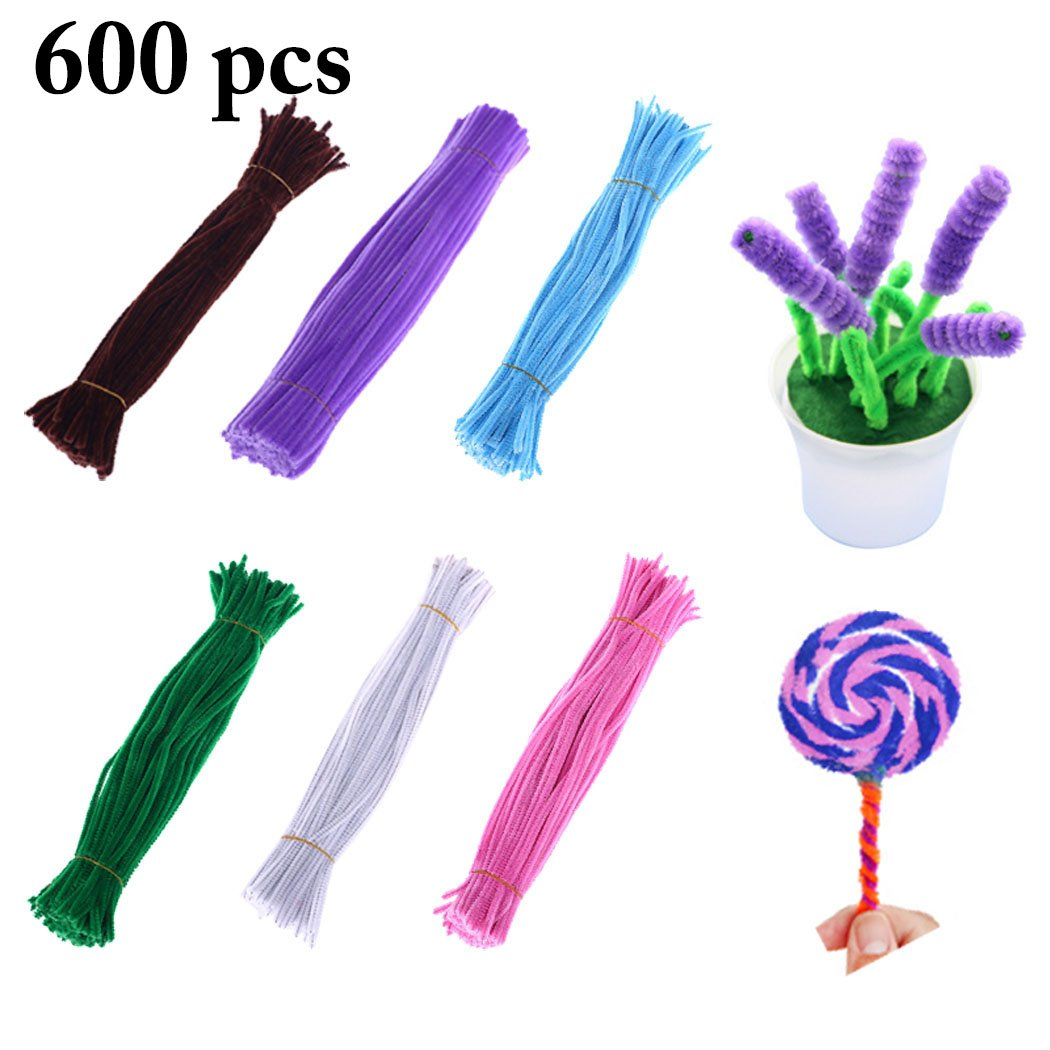 Joyibay 600PCS Chenille Stem Craft Pipe Cleaner Colorful DIY Party Chenille Stem for Christmas Decoration