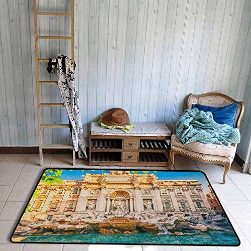 Outdoor Patio Rug,Italy Fountain Di Trevi Famous Travel Destination Tourist Attraction European Landmark,Anti-Slip Doormat Footpad Machine Washable,3