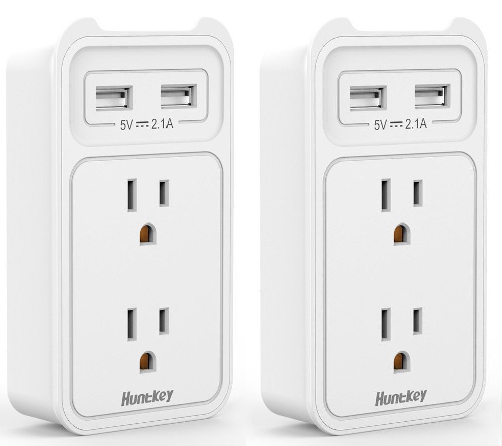 2-Pack Huntkey 2-Outlet Wall Mount Cradle w/ USB Charging Ports