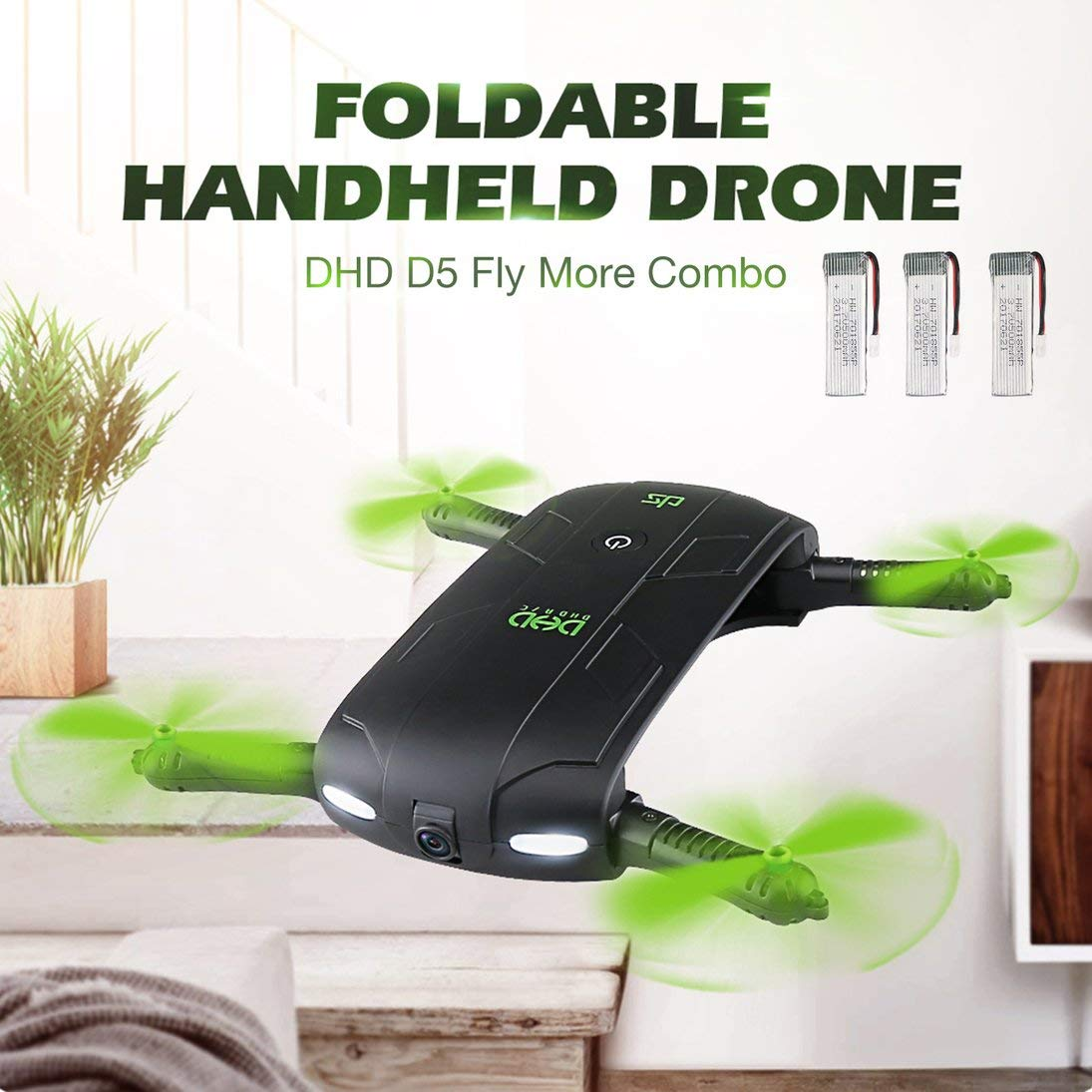 ToGames-ES DHD D5 Foldable Selfie Drone RC Quadcopter with WiFi FPV Camera 3 Battery RTF