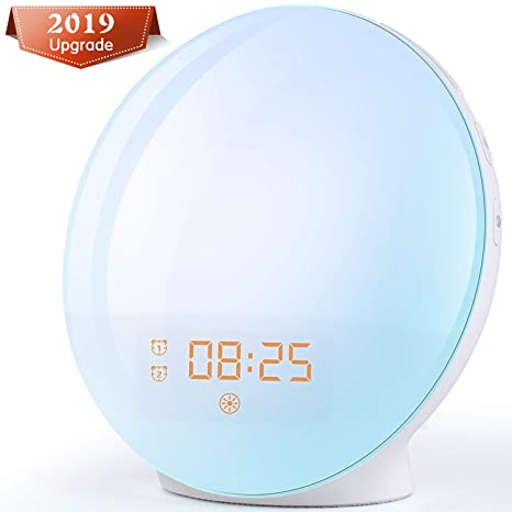 Wake Up Light Despertador Luz - 2019 LED Despertador Amanecer Simulación de Amanecer y Anochecer, 2 Alarmas, 7 Luces de Colores, 20 Niveles de Brillo, ...