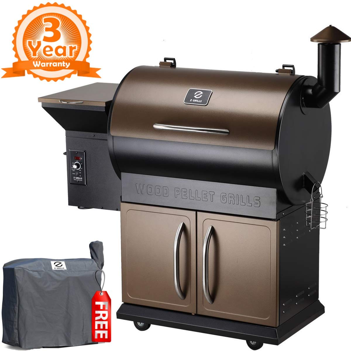 Z GRILLS ZPG-700D 2019 Upgrade Wood Pellet Grill & Smoker, 8 in 1 BBQ Grill Auto Temperature Control, 700 sq inch Cooking Area, Bronze & Black by Z GRILLS