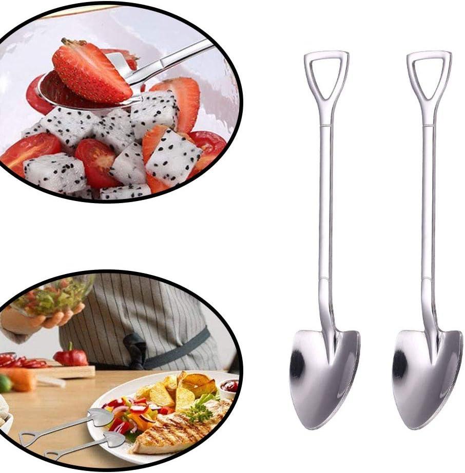 6pcs Shovel Shape Spoons Coffee Spoon Stainless Steel Sugar Ice Cream Dessert Cake Pastry Scoop Latte tirring Spoons