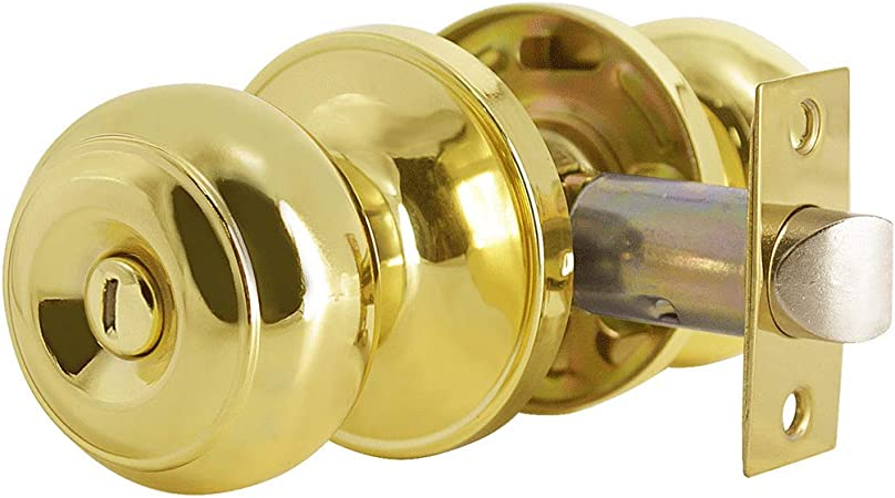 Bed Bath Door Lock Polished Brass Privacy Door Knobs Interior Ball Shape Doorknobs Keyless Gold Door Knobs Privacy 3 Pack Lock Hardware With Adjustable Latch By Goldentimehardware Amazon Com