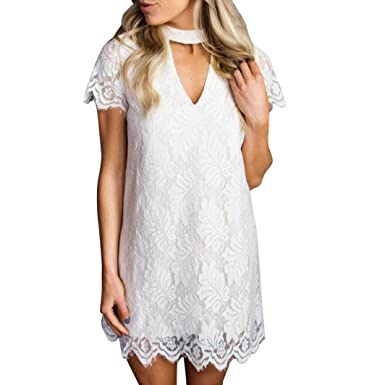 6971509e4656b Image Unavailable. Image not available for. Colour  iYYVV Women s Summer  Sweet Lace Neck Short Sleeve ...