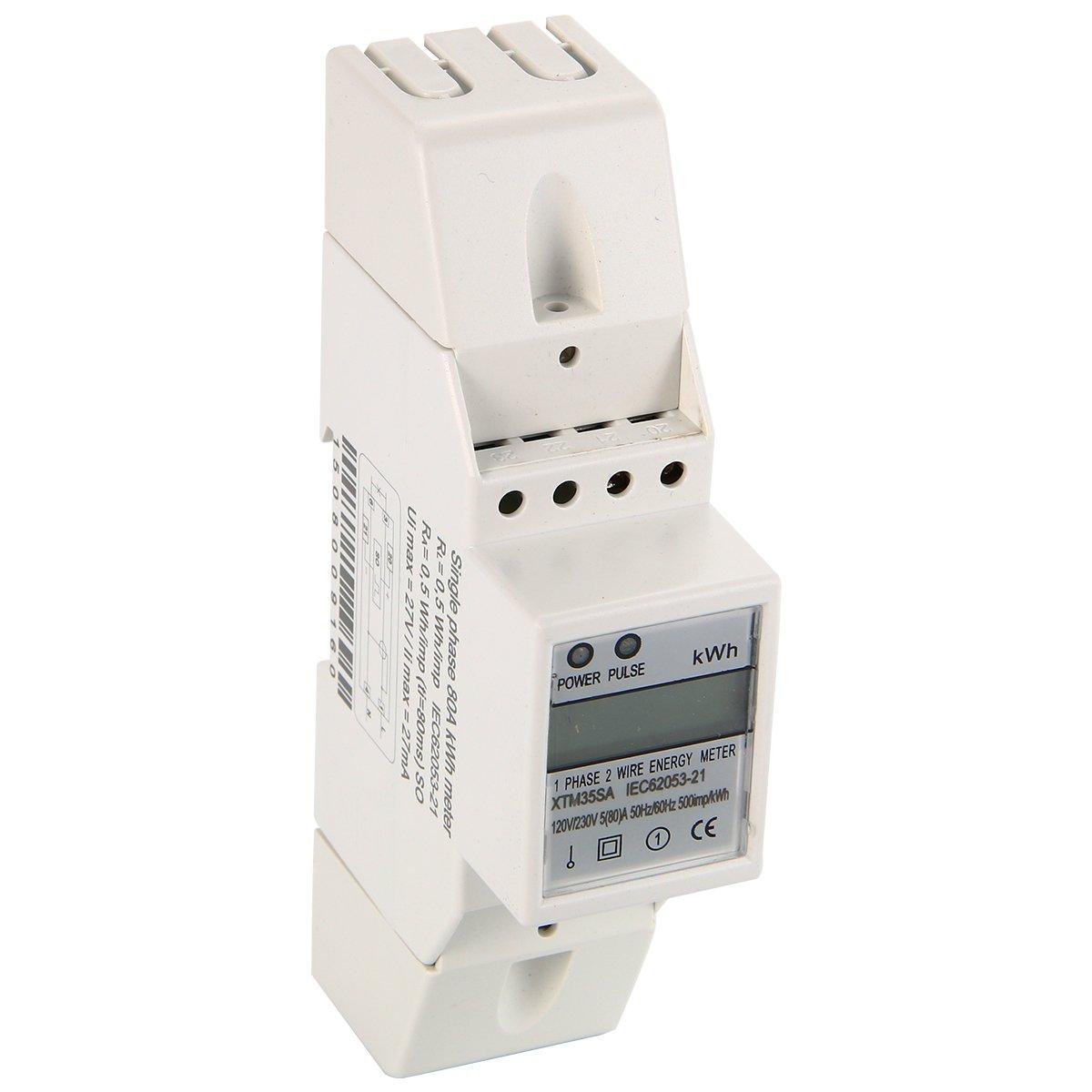 Baym 580a 120v 60hz Single Phase Din Rail Kwh Watt Hour 100v 1 Wiring Diagram Energy Meter Lcd 80a Industrial Scientific