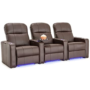 amazon com seatcraft venetian brown bonded leather home theater