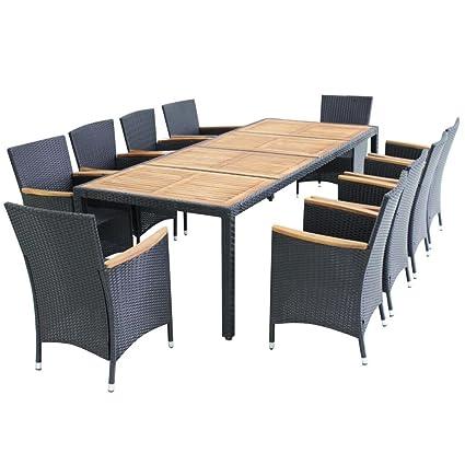VidaXL Patio Rattan Wicker Outdoor Dining Set Garden Furniture Table Chair  Seat
