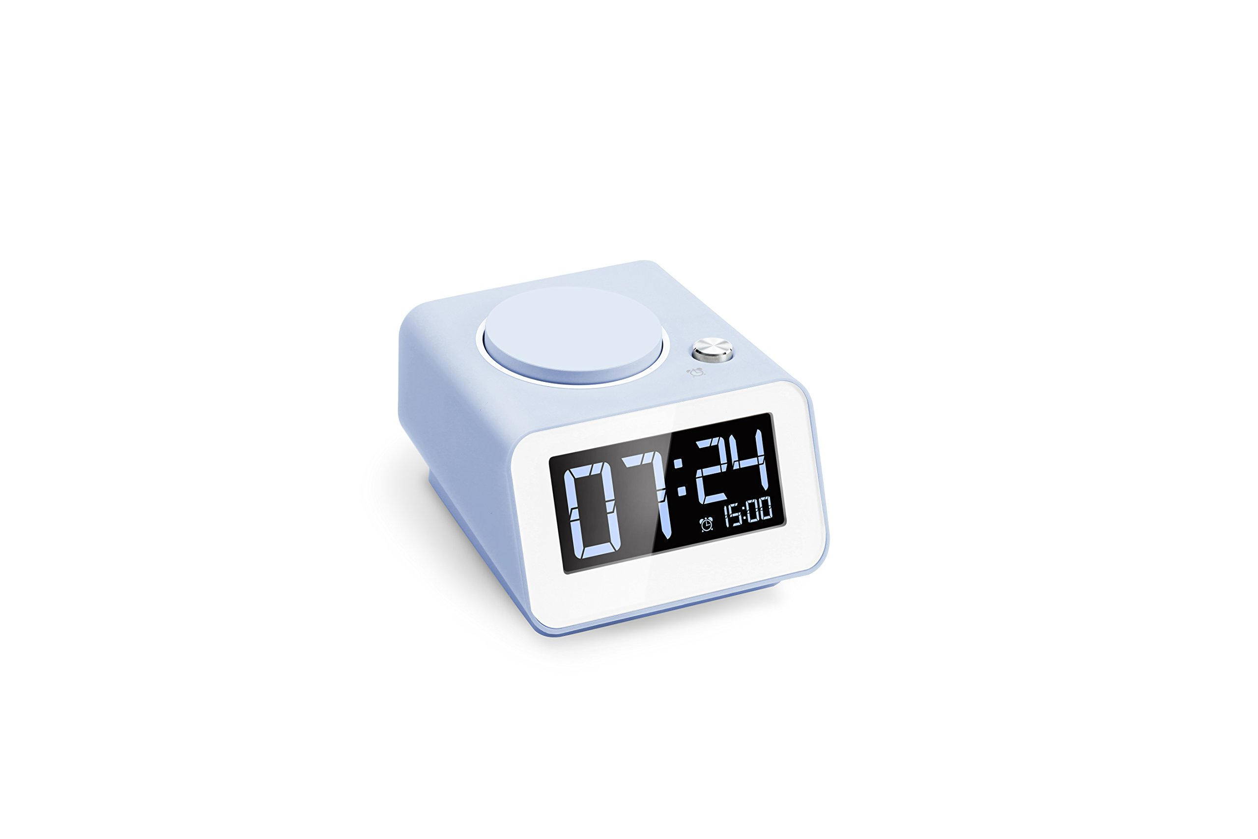 Homtime C1 Mini Digital Alarm Clock with Dual USB Charging, 4 Level Dimmable, Battery Backup Function, Perfect for Home, Hotel and Office, Blue
