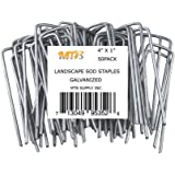 MTB 50 Pack 4x1 inch 11GA(0.12inch) Sod Staples Garden Pins Netting Stakes Ground Spikes Landscape Cover Pegs Anti-Rust…