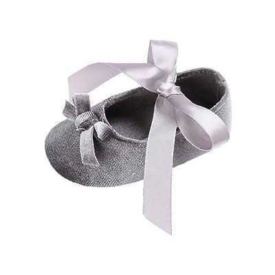 Baorong Baby Girl Silk Ribbon Bow Soft Sole Infant Princess Shoe
